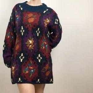 vintage • hand knit sweater tunic dress